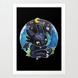 Baby Toothless Night Fury Dragon Watercolor black bg Art Print