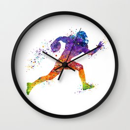 American Football Player Sports Art Colorful Watercolor Art Gift Football Player Gift Sports Decor Wall Clock