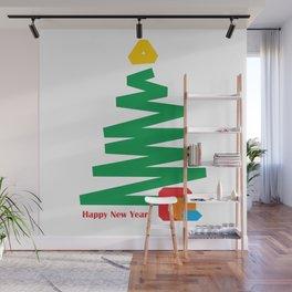 Modern Christmas tree. Abstract Christmas gift Wall Mural