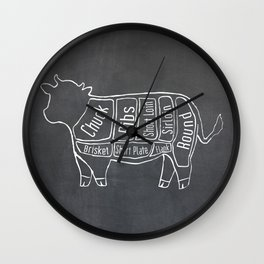 Beef Butcher Diagram (Cow Meat Chart) Wall Clock