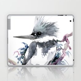 Belted Kingfisher, Gray design, Gray design Laptop & iPad Skin