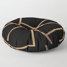 Black and Gold Fragments - Geometric Design Floor Pillow