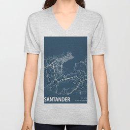 Santander Blueprint Street Map, Santander Colour Map Prints Unisex V-Neck