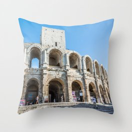Foreshortening in the historical town of Arles, southern France Throw Pillow