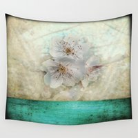 cherry blossom Wall Tapestries featuring Cherry Blossom  by aRTsKRATCHES