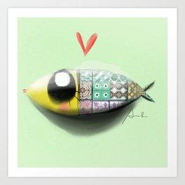 Green Sardine Art Print