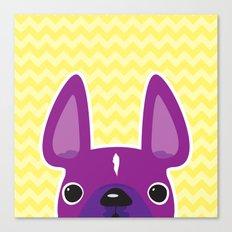 Purple Chevron Frenchie Canvas Print