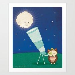 Astronomer Owl Art Print