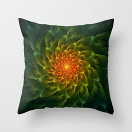 Beautiful Orange-Green Desert BarrelCactus Spiral Throw Pillow