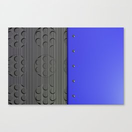 Colored plate with rivets and circular metal grille Canvas Print