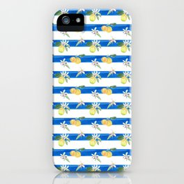 Citrus on blue stripes iPhone Case