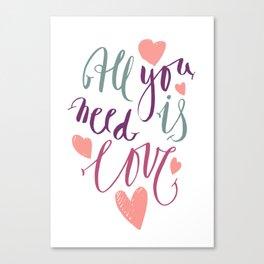 Love quotation handwriting Canvas Print