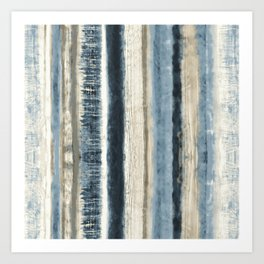 Distressed Blue and White Watercolor Stripe Art Print