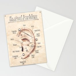 Vintage Style Ear Piercing Chart Stationery Cards