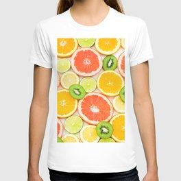 oranges ,grapefruit,kiwi, lemon and other fruits sliced T-shirt