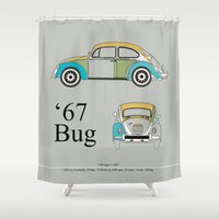 bug Shower Curtains featuring '67 Bug by k_design