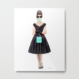 Fashion Audrey shopping at breakfast watercolor blowing bubble Metal Print
