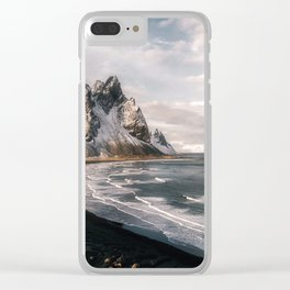 Stokksnes Icelandic Mountain Beach Sunset - Landscape Photography Clear iPhone Case