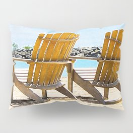 Beach Chairs at the Lake - Summertime - Beach Decor Pillow Sham