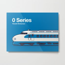 0 Series Shinkansen Blue Side Profile Metal Print