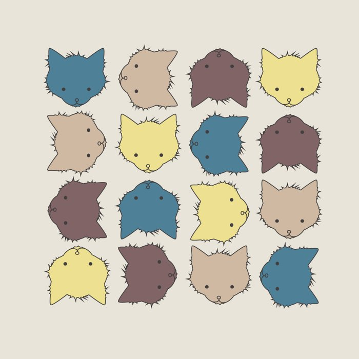 Pastel cat faces Duvet Cover