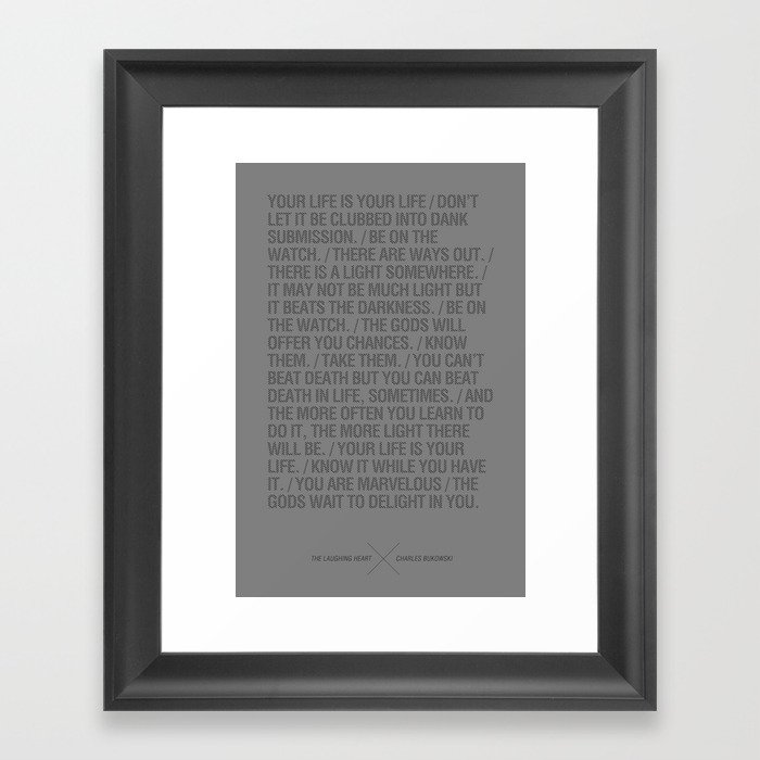 The Laughing Heart By Charles Bukowski Framed Art Print By Flipdiao