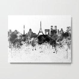 Paris skyline in black watercolor Metal Print