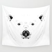 polar bear Wall Tapestries featuring Polar Bear by csmalcolm Illustration