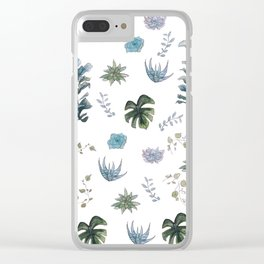 Indoor plant pattern Clear iPhone Case