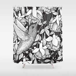 Hummingbird and fuchsia Shower Curtain