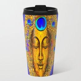 MYSTIC PEACOCK BLUE FEATHER EYES BUDDHA ART Travel Mug