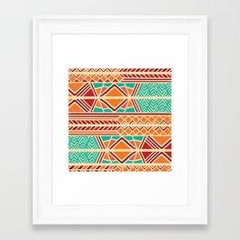 Tribal ethnic geometric pattern 027 Framed Art Print