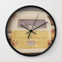 vw bus Wall Clocks featuring VW Bus by Kristine Ridley
