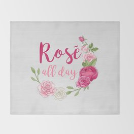 Rose All Day - White Wood Throw Blanket
