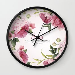 Rose Watercolor Flowers rose and Pink Wild Roses Bouquet Wall Clock