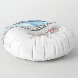 Mina Pompon sleeping on the bed Floor Pillow