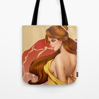 belle Tote Bags featuring Belle by Zeamay