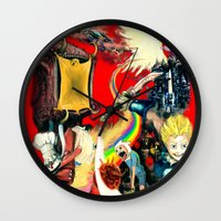 final fantasy Wall Clocks featuring Final Adventure Fantasy Time! by Noel Castillo
