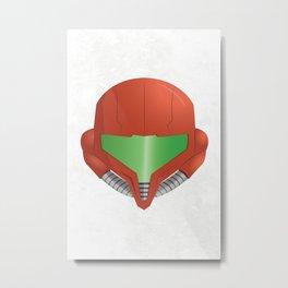 Samus Helmet - Super Metroid white Metal Print