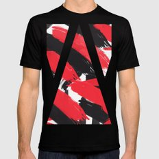 Modern Abstract Black Red Brush Strokes Pattern Black Mens Fitted Tee MEDIUM