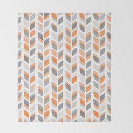 Modern Rectangle Print with Retro Abstract Leaf Pattern Throw Blanket