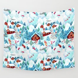 Alpine Chalets with reindeer, owls and snow (watercolor) Wall Tapestry