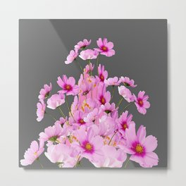 FUCHSIA PINK COSMOS GREY FLORAL DESIGN Metal Print