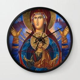 Madonna and Child Icon Virgin Mary Byzantine Orthodox Art work Wall Clock