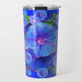 BLUE MORNING GLORIES DRAGONFLIES ART Travel Mug