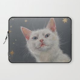White Cat with the Moon and stars Laptop Sleeve