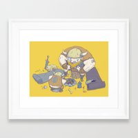 vikings Framed Art Prints featuring Posturing Vikings by Barry Young