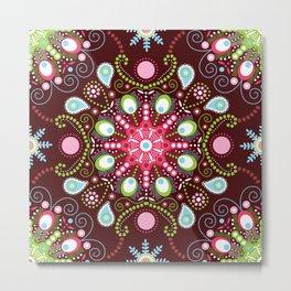 Pointillism mandala | Brown, red and green Metal Print