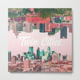 Twin Cities Minneapolis and Saint Paul Minnesota Collage Metal Print