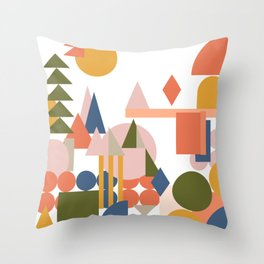 Folksy Geometric Abstract Landscape Throw Pillow